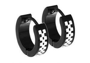 Men's Black Stainless Steel Hoop Earrings 4mm