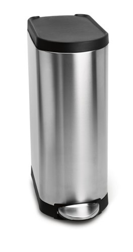 simplehuman Slim Step Trash Can, Brushed Stainless Steel, 35 Liters / 9 Gallons