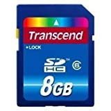 Transcend 8 GB Class 6 SDHC Flash Memory Card with USB Card Reader TS8GSDHC ....