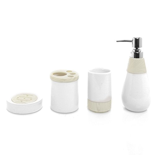 4 pc two tone white ceramic bathroom accessory set w for White bathroom tumbler