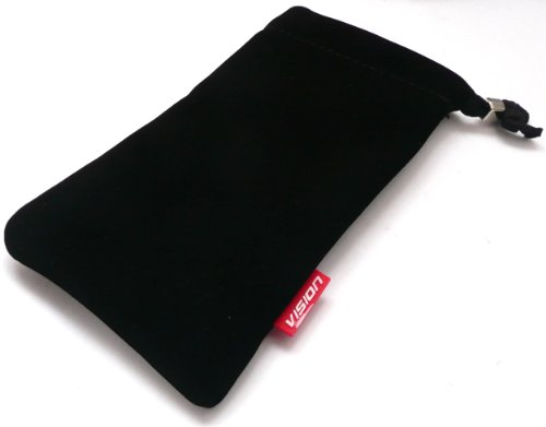 Emartbuy Vision Black Faux Suede Soft Slide In Pouch / Case / Deckel Passend Für Lg Optimus P970 White