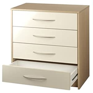 Colorado 4 Drawer Chest Of Drawers Cream Walnut Gloss Kitchen Home