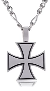 """Men's Two-Tone Stainless Steel Large Layered Cross Pendant Necklace, 22"""""""