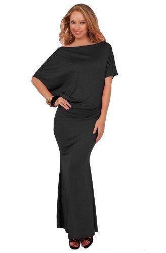 Chic Off Shoulder Blouson Drop Waist Fitted Hem Casual Evening Maxi Long Dress