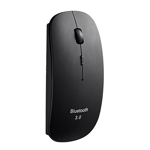 Tonor (TM) matt dünn schlank Bluetooth 3.0 kabellos wireless Maus 800/1200/1600 DPI aufladbar Schwarz