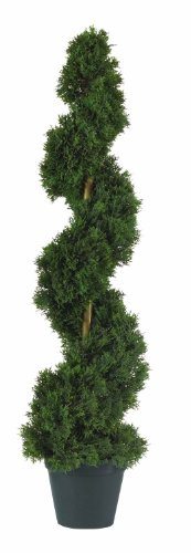 (Two) 3 ft Outdoor Artificial Cedar Spiral Topiary Trees