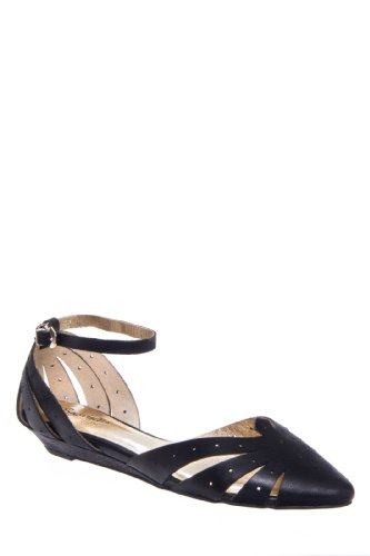 Siren Call D'Orsay Ankle Strap Pointed Toe Flat Shoe