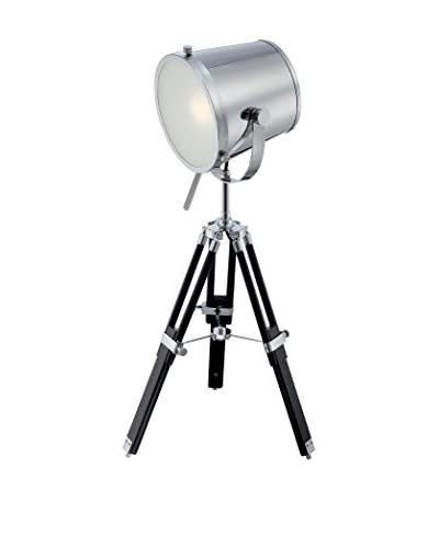 Lite Source Trey Tripod Table Lamp, Chrome/Black/Frosted
