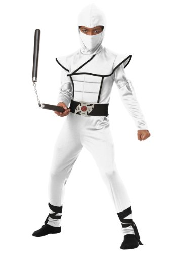 [Big Boys' White Stealth Ninja Costume Medium (8-10)] (White Ninja Costumes For Kids)
