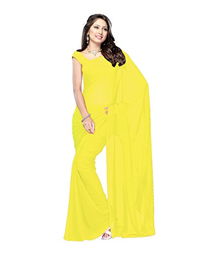 Lovely Look Latest collection of Plain Sarees in Georgette Fabric & in attractive Yellow Color