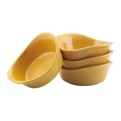 Rachael Ray Serveware Lil' Saucy Squares Stoneware Dipping Cups Set, Yellow