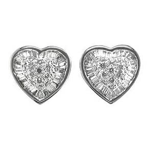 1.67ct Total Weight Pave Heart Shape Diamond Earrings