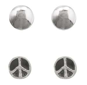 Sterling Silver Enamel Peace Sign Stud and 5mm Ball Stud Earrings Set