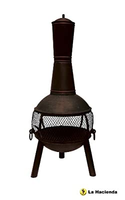La Hacienda Vigo Xl 122cm High Red Chiminea Cast Iron Steel Mix Patio Heater