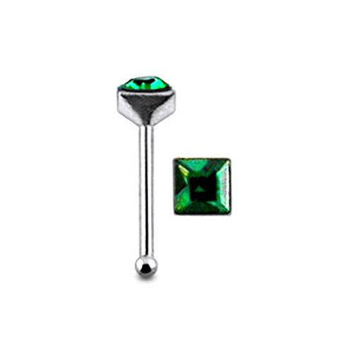 Dark Green Glued Square Gem Sterling Silver Ball End Nose Pin Body Jewelry