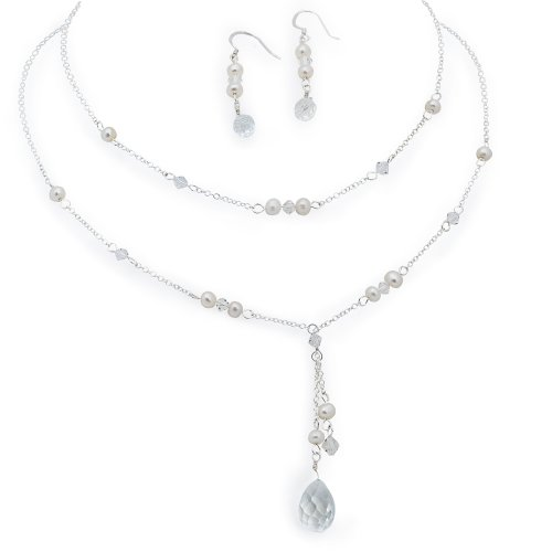 White Freshwater Pearl Double Drop Jewelry Set