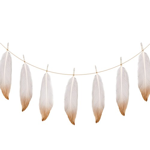 Ling's moment Gold Dipped Feather Banner Garland for Bohemian Bridal Baby Shower Decorations, Boho Gold Party Home Decor, 12pcs