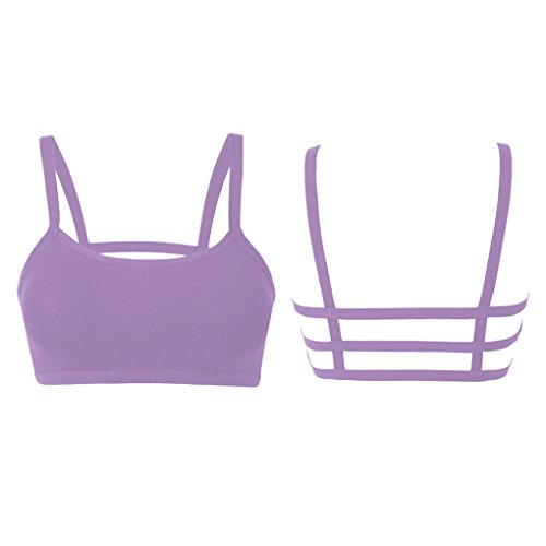 MuLuo Sexy Padded Bra Straps Spaghetti Camisole Candy Colors Sport Tank Top purple (Bra Spaghetti compare prices)