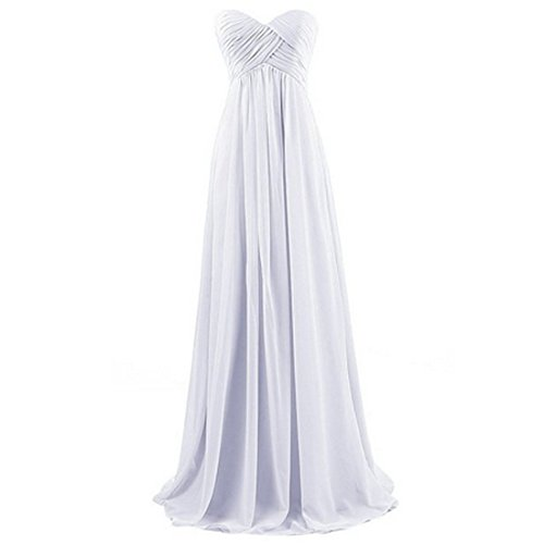 A-Linie-Chiffon-Brautjungfernkleider-ballkleid-Abendkleider-Lang-Blanc-M