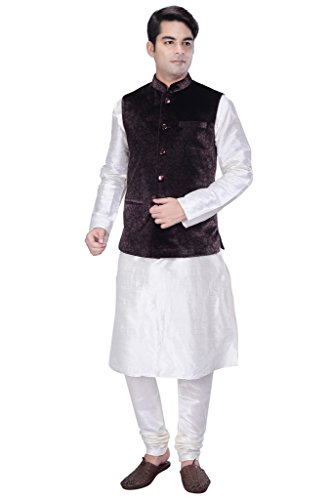 KISAH-Mens-White-Cotton-Silk-kurta-and-Churidar-with-Grey-Velvet-Nehru-Jacket