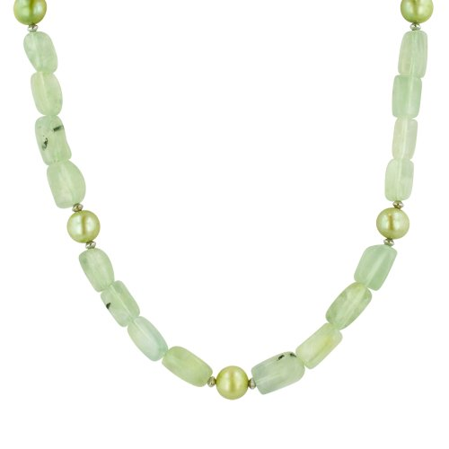 Green Garnet and Celery Green Freshwater Cultured Pearl Necklace, 50