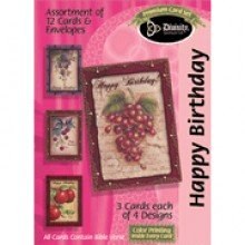 Boxed Gift Cards Birthday-Fruit (12 Pack)