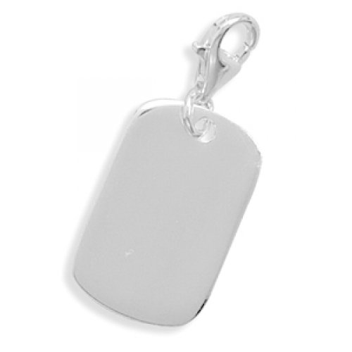 MMA Silver - Engravable Tag Charm with Lobster Clasp