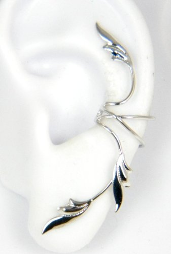 Sterling Silver 3 Delicate Leaves Full Ear Cuff for Left Ear