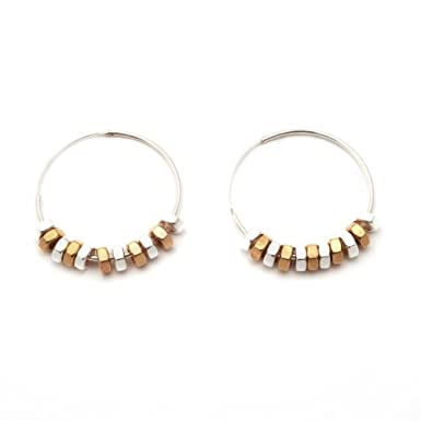 Rose Gold and Silver Hoop Earrings by Alice Menter||RF10F