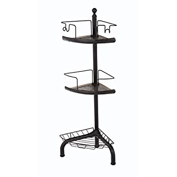 HomeZone 3 Tier Adjustable Corner Shower Caddy, Oil-Rubbed Bronze Finish