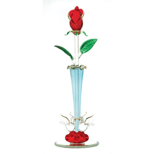 Gifts & Decor Spun Glass Rosebud Decorative Vase Home Decor Figurine front-1058524