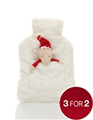Hot Water Bottle with White Cover & Mouse Toy