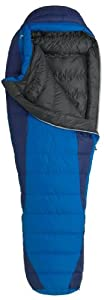 Marmot Sawtooth Long Down Sleeping Bag, Long-Left, Blue