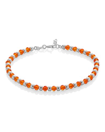 Voylla 925 Silver Link Bracelets with Orange, Silver Beads (multicolor)