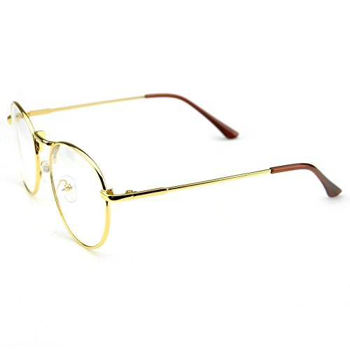PenSee Oval Classic Retro Metal Frame Clear Lens Round Circle Eye Glasses 2