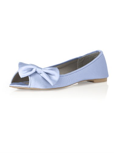 Satin Peep Toe Bridal Ballet Flats by Dessy – Arctic – Size 10