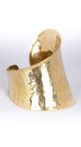 Zad Jewelry Hammered Asymetrical Cuff Bracelet - Gold Metal