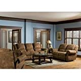 Microfiber Sofa Set - 3 Piece in Medium Brown Distressed - Coaster