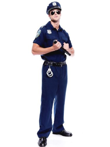 Police Costume Mens Officer Cop Blue Force Deputy Theatrical Mens Costume