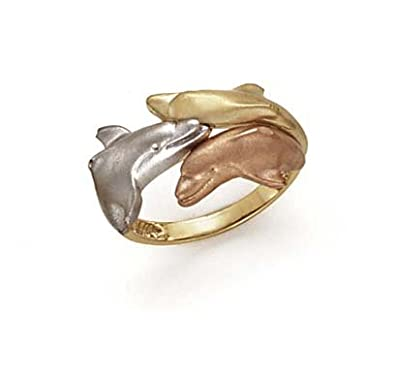 14ct Tricolor Gold Dolphin Ring - Size N 1/2