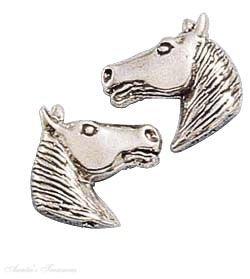 Sterling Silver Medium Horse Head Post Stud Earrings