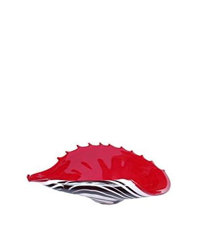 Jozefina Art Glass Shell Plate Zebra Art Glass, Red/White/Black