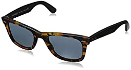 Ray-Ban 0RB2140 1188R5 Original Wayfarer Distressed Sunglasses, Havana Blue,Effect Aged Grey & Black Effect Aged, 50 mm