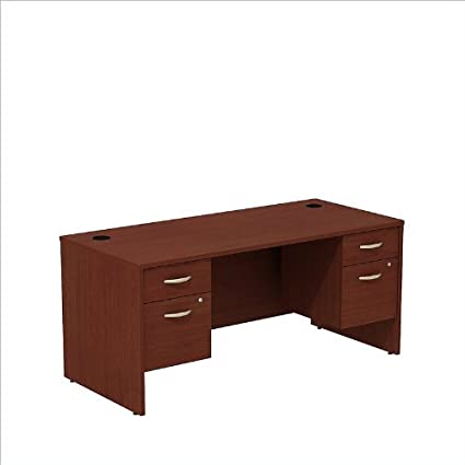 BBF Series C Shell Desk with 2 Pedestal in Mahogany
