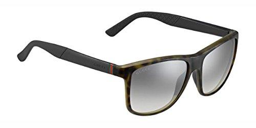 Gucci per uomini 1047Green Havana/Black/Grey Gradient, Silver Mirror plastica telaio occhiali da sole, 58mm