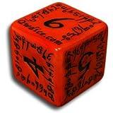 1 (One) Single D6 Q Workshop: Carved Elvish / Elven D6 Dice / Die (Red & Black)