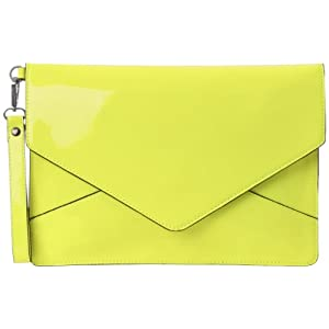 Melie Bianco D2176 Janelle Clutch,Neon Yellow,One Size