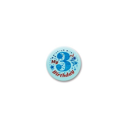 "My 3rd Birthday Satin Button (Blue) 2"" Party Accessory"