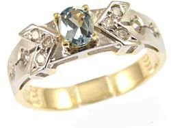 14k Yellow Gold White Rhodium, Elegant Design Dainty Ring with Lab Created Oval Shape Aqua Blue Colored Stone