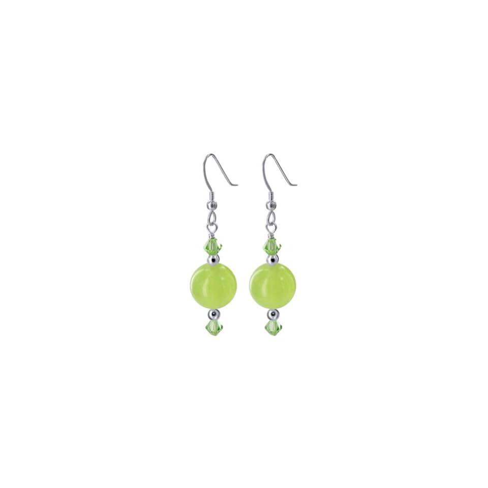 Gem Avenue Sterling Silver Swarovski Elements Green Agate and Fish Hook Drop Handmade Crystal Earrings